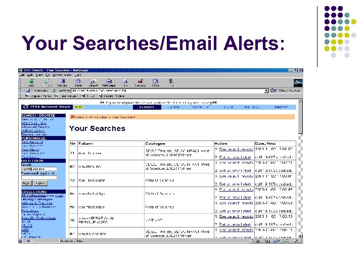 Your Searches/Email Alerts: