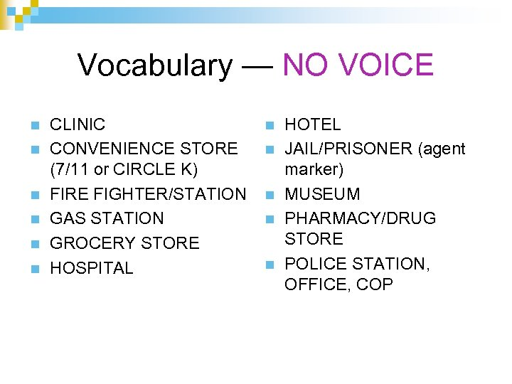 Vocabulary — NO VOICE n n n CLINIC CONVENIENCE STORE (7/11 or CIRCLE K)