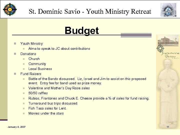 St. Dominic Savio - Youth Ministry Retreat Budget n n n Youth Ministry n
