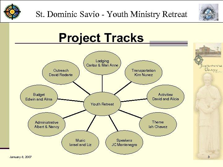 St. Dominic Savio - Youth Ministry Retreat Project Tracks Lodging Carlos & Mari Anne