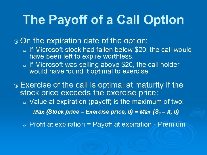 The Payoff of a Call Option ☺ On the expiration date of the option: