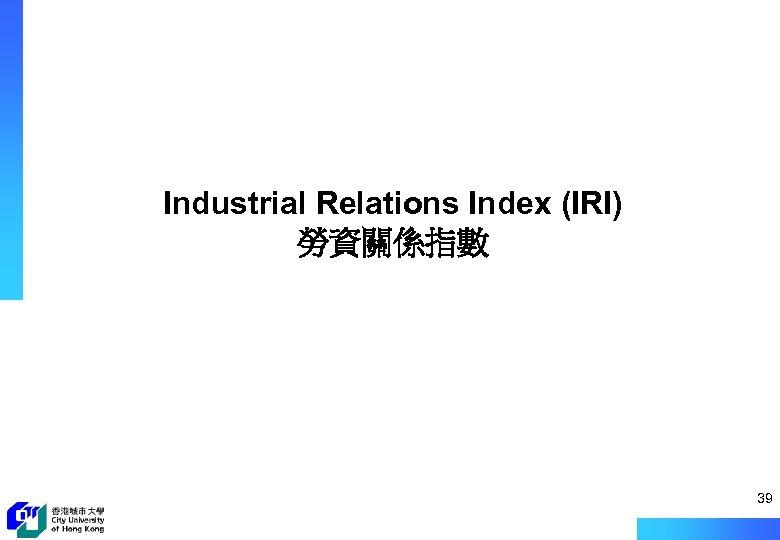 Industrial Relations Index (IRI) 勞資關係指數 39