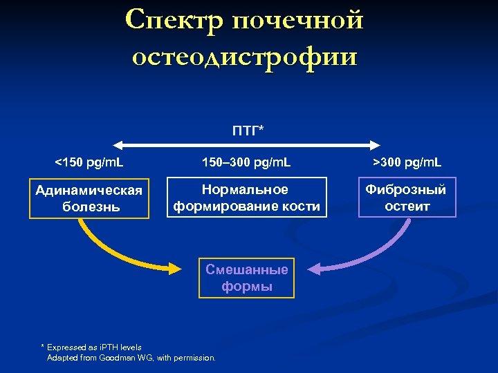 Спектр почечной остеодистрофии ПТГ* <150 pg/m. L 150– 300 pg/m. L >300 pg/m. L