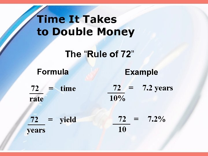"""Time It Takes to Double Money The """"Rule of 72"""" Formula 72 = time"""