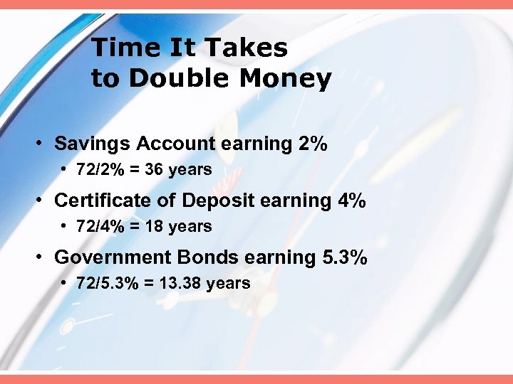 Time It Takes to Double Money • Savings Account earning 2% • 72/2% =