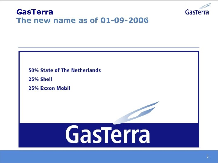 Gas. Terra The new name as of 01 -09 -2006 3