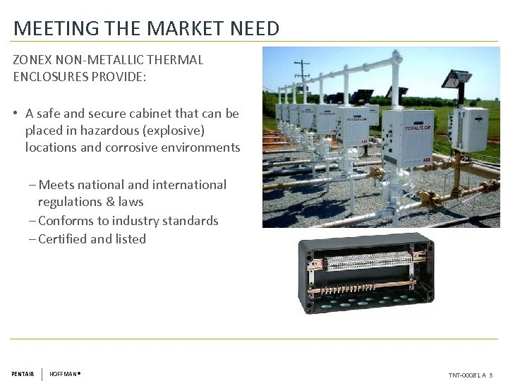 MEETING THE MARKET NEED ZONEX NON-METALLIC THERMAL ENCLOSURES PROVIDE: • A safe and secure
