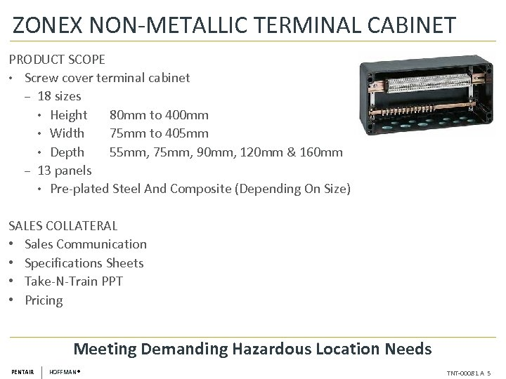 ZONEX NON-METALLIC TERMINAL CABINET PRODUCT SCOPE • Screw cover terminal cabinet ‒ 18 sizes
