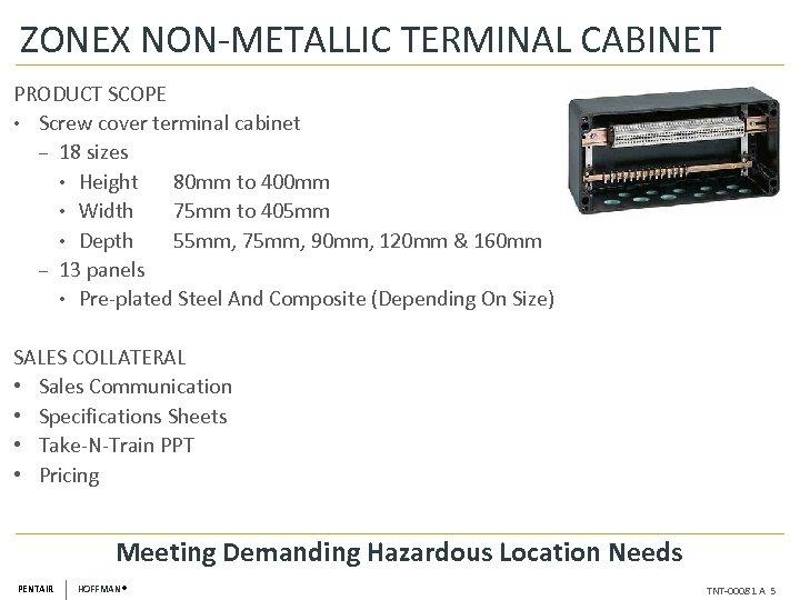 ZONEX NON-METALLIC TERMINAL CABINET PRODUCT SCOPE • Screw cover terminal cabinet ‒ 18 sizes
