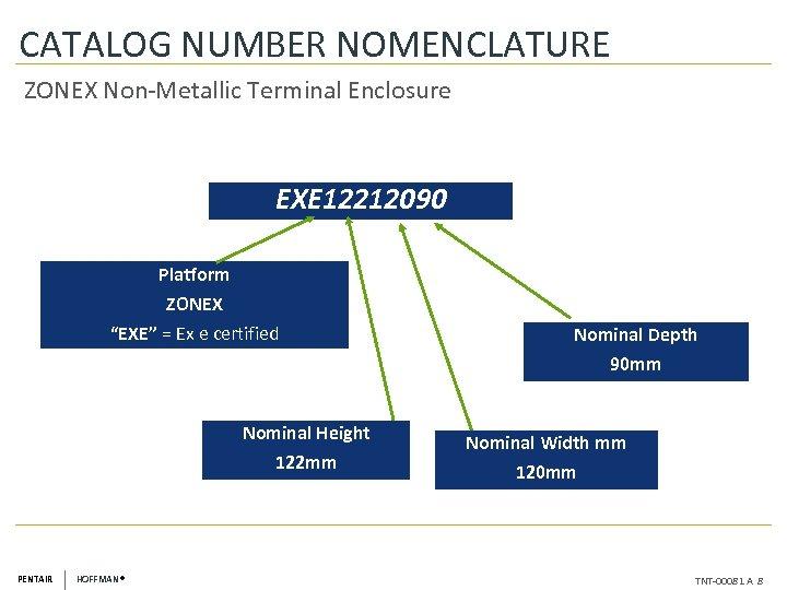 "CATALOG NUMBER NOMENCLATURE ZONEX Non-Metallic Terminal Enclosure EXE 12212090 Platform ZONEX ""EXE"" = Ex"