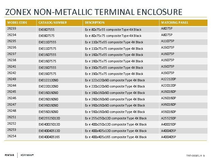 ZONEX NON-METALLIC TERMINAL ENCLOSURE MODEL CODE CATALOG NUMBER DESCRIPTION MATCHING PANEL 26233 EXE 807555