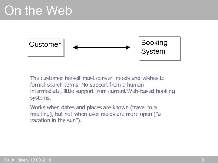 On the Web Customer Booking System The customer herself must convert needs and wishes