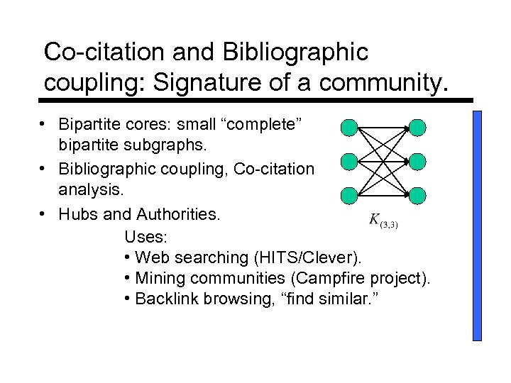 "Co-citation and Bibliographic coupling: Signature of a community. • Bipartite cores: small ""complete"" bipartite"