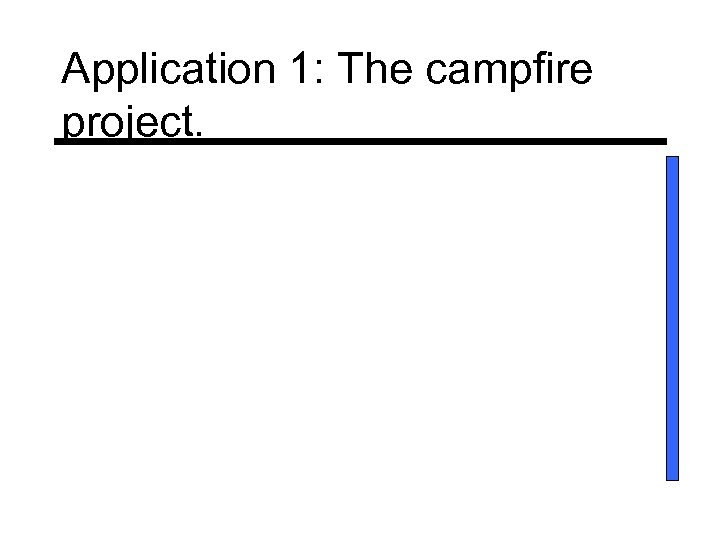 Application 1: The campfire project.