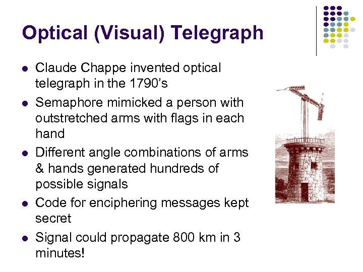 Optical (Visual) Telegraph l l l Claude Chappe invented optical telegraph in the 1790's