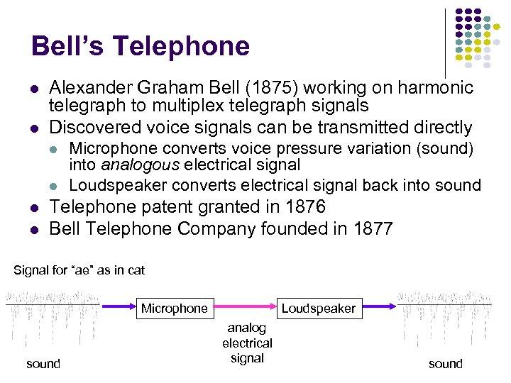 Bell's Telephone l l Alexander Graham Bell (1875) working on harmonic telegraph to multiplex