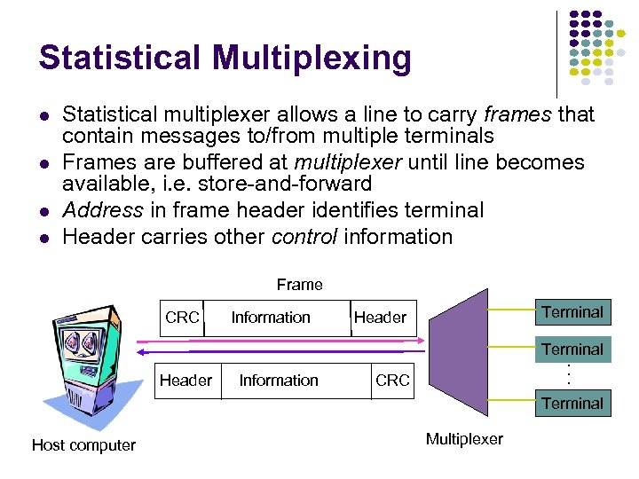 Statistical Multiplexing l l Statistical multiplexer allows a line to carry frames that contain