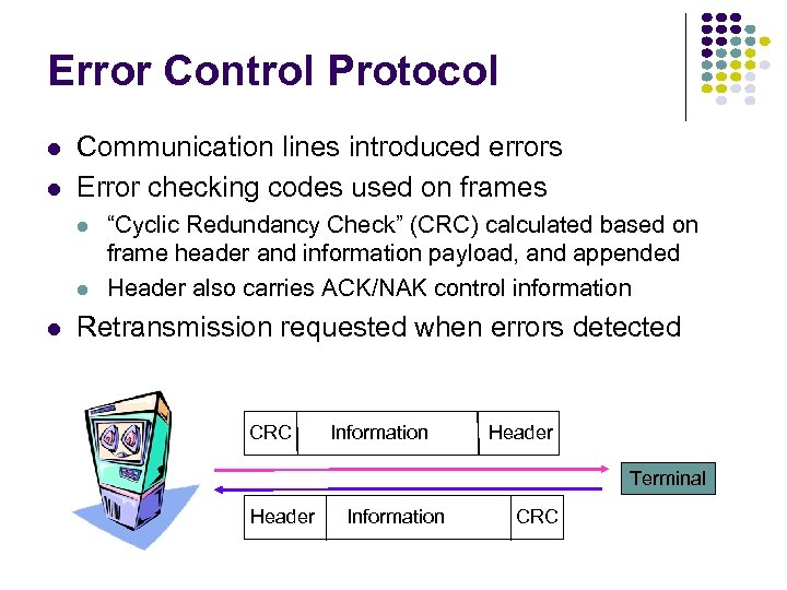 Error Control Protocol l l Communication lines introduced errors Error checking codes used on