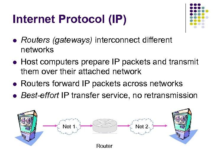 Internet Protocol (IP) l l Routers (gateways) interconnect different networks Host computers prepare IP