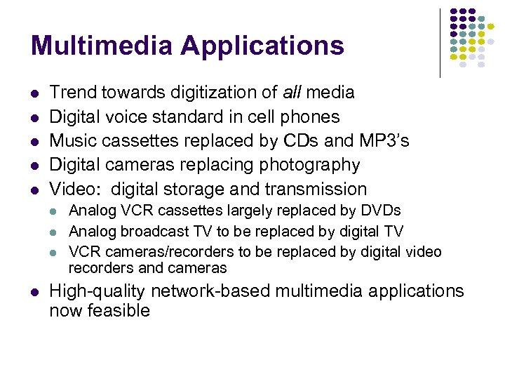 Multimedia Applications l l l Trend towards digitization of all media Digital voice standard