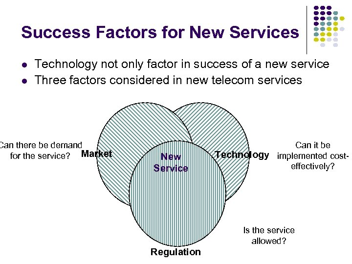Success Factors for New Services l l Technology not only factor in success of