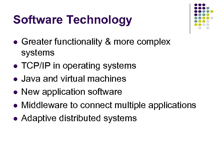 Software Technology l l l Greater functionality & more complex systems TCP/IP in operating