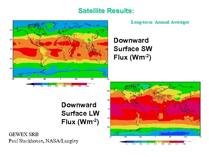 Satellite Results: Long-term Annual Averages Downward Surface SW Flux (Wm-2) Downward Surface LW Flux