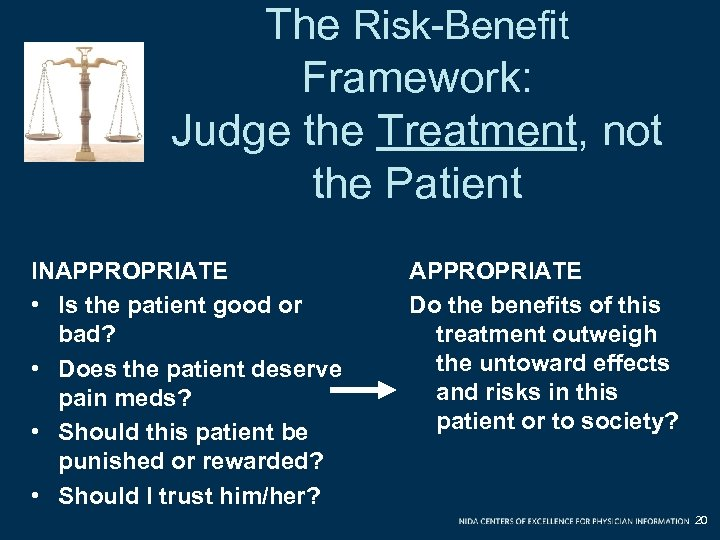 The Risk-Benefit Framework: Judge the Treatment, not the Patient INAPPROPRIATE • Is the patient