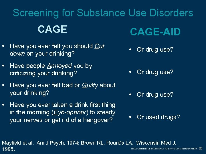 Screening for Substance Use Disorders CAGE-AID • Have you ever felt you should Cut