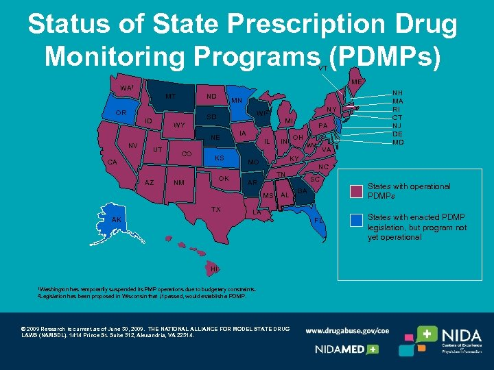 Status of State Prescription Drug Monitoring Programs (PDMPs) VT ME WA 1 MT ND