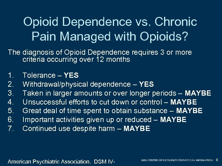 Opioid Dependence vs. Chronic Pain Managed with Opioids? The diagnosis of Opioid Dependence requires
