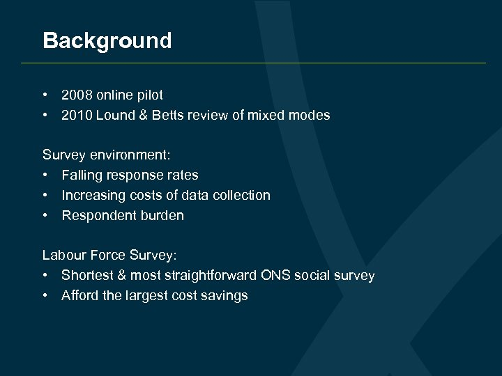 Background • 2008 online pilot • 2010 Lound & Betts review of mixed modes