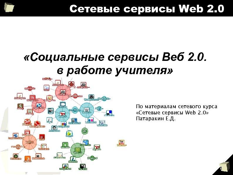 Сетевые сервисы Web 2. 0 «Социальные сервисы Веб 2. 0. в работе учителя» По
