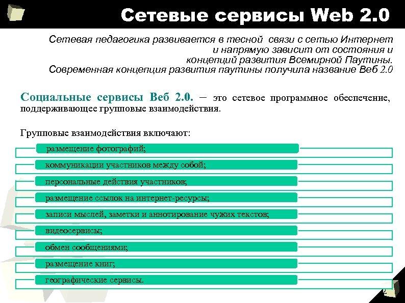 Сетевые сервисы Web 2. 0 Сетевая педагогика развивается в тесной связи с сетью Интернет