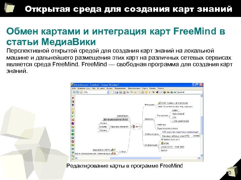 Открытая среда для создания карт знаний Обмен картами и интеграция карт Free. Mind в