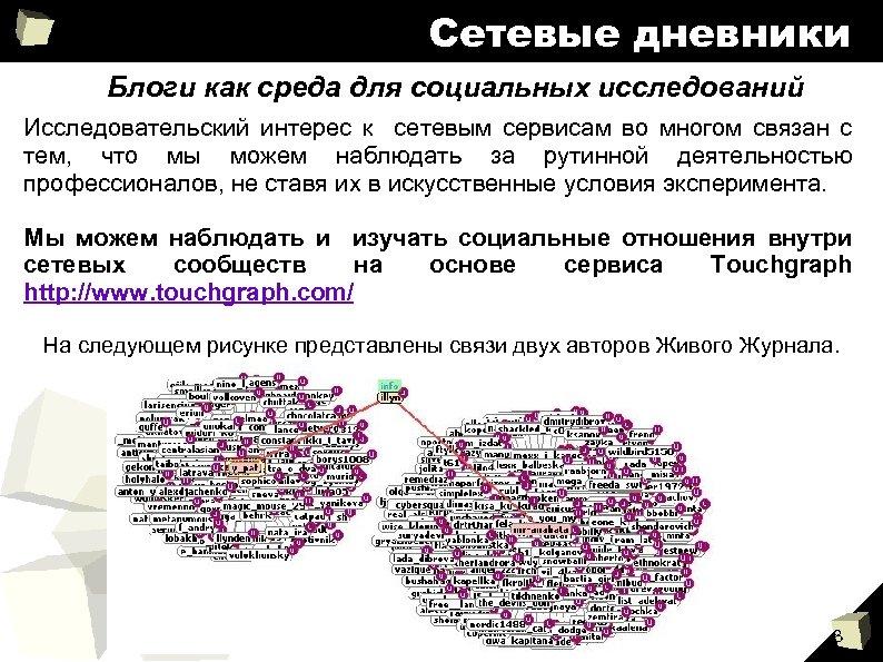 Сетевые дневники Блоги как среда для социальных исследований Исследовательский интерес к сетевым сервисам во