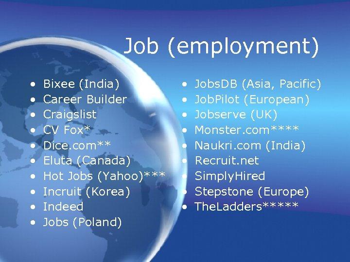 Job (employment) • • • Bixee (India) Career Builder Craigslist CV Fox* Dice. com**