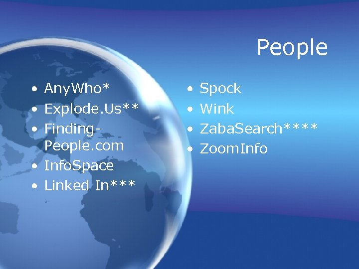 People • Any. Who* • Explode. Us** • Finding. People. com • Info. Space