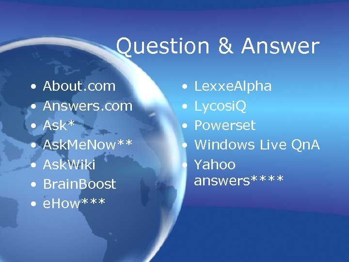 Question & Answer • • About. com Answers. com Ask* Ask. Me. Now** Ask.