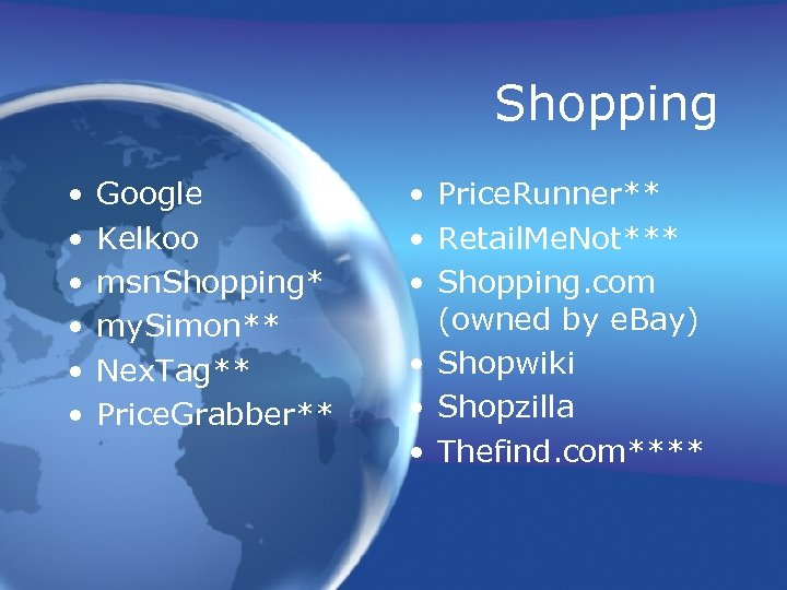Shopping • • • Google Kelkoo msn. Shopping* my. Simon** Nex. Tag** Price. Grabber**