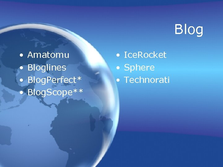 Blog • • Amatomu Bloglines Blog. Perfect* Blog. Scope** • Ice. Rocket • Sphere