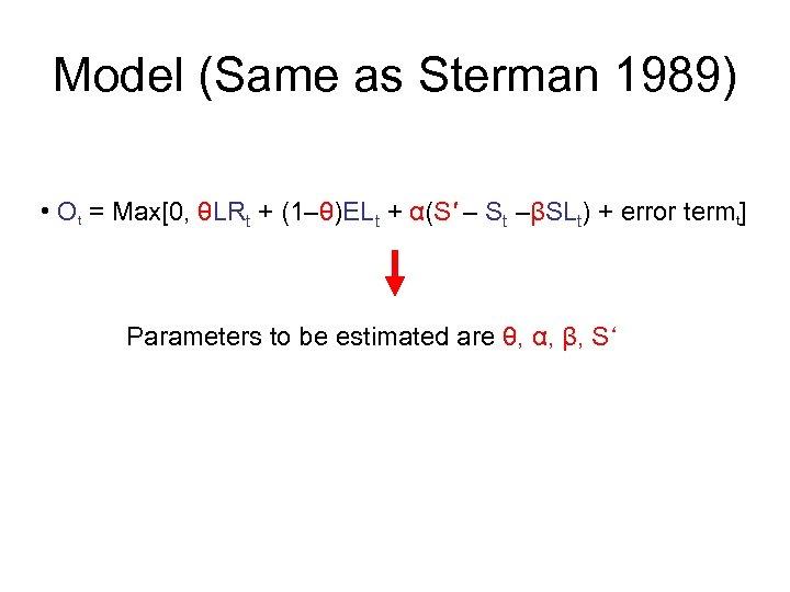 Model (Same as Sterman 1989) • Ot = Max[0, θLRt + (1–θ)ELt + α(S'
