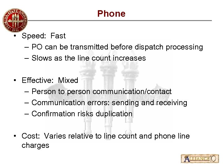 Phone • Speed: Fast – PO can be transmitted before dispatch processing – Slows
