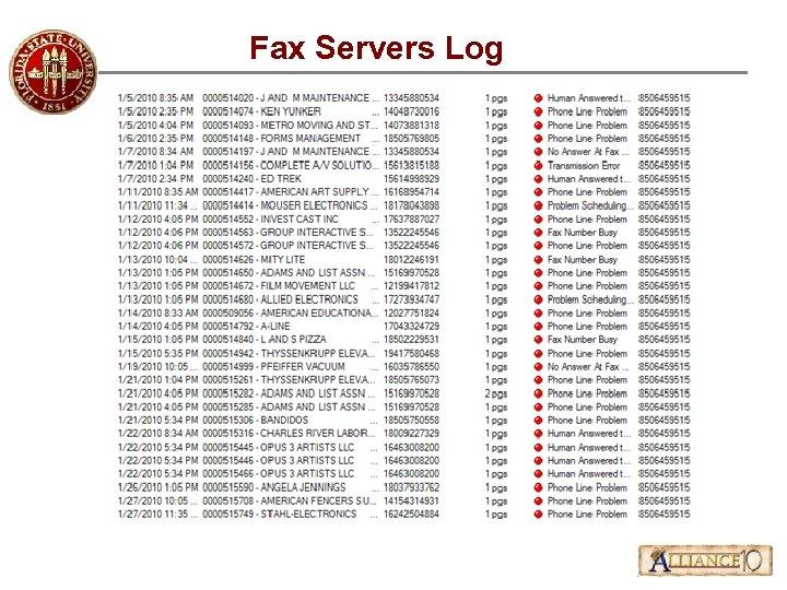 Fax Servers Log