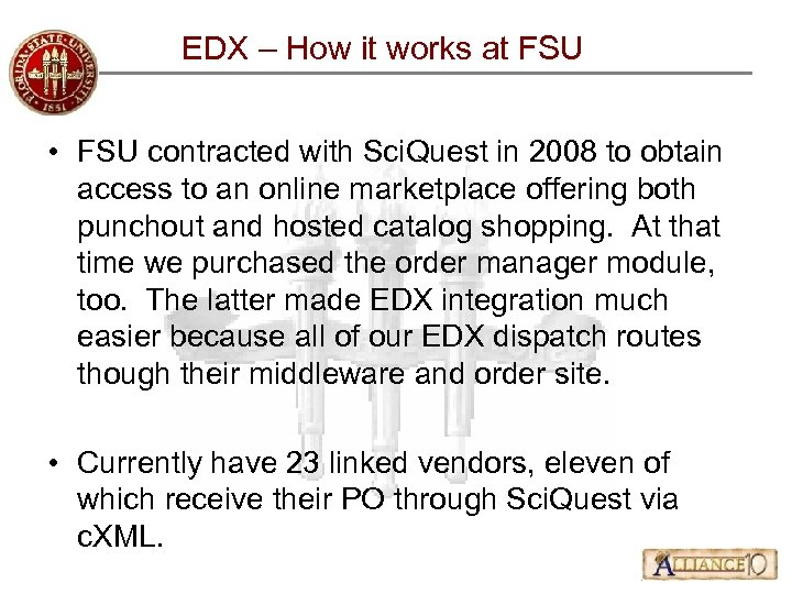 EDX – How it works at FSU • FSU contracted with Sci. Quest in