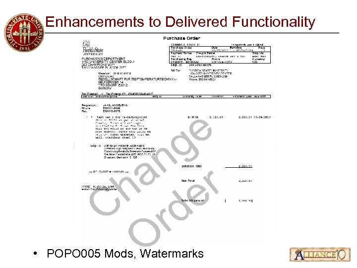Enhancements to Delivered Functionality • POPO 005 Mods, Watermarks