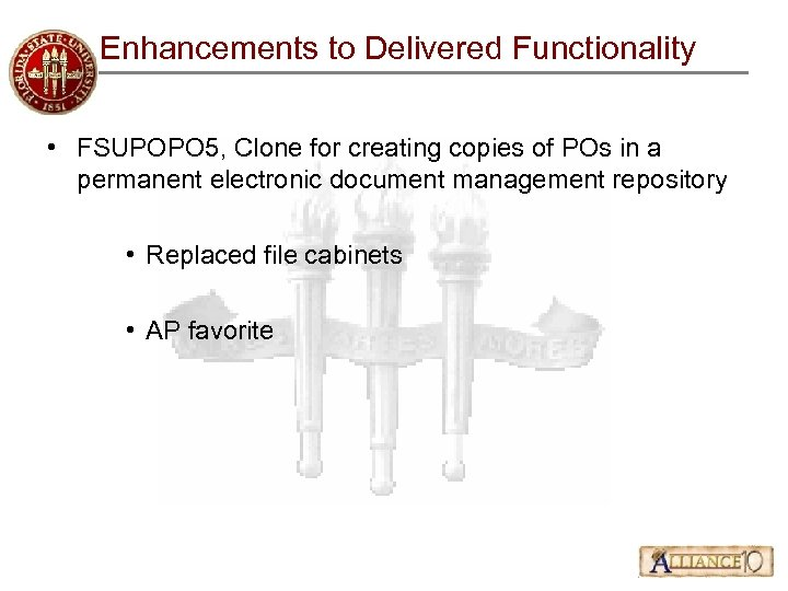 Enhancements to Delivered Functionality • FSUPOPO 5, Clone for creating copies of POs in