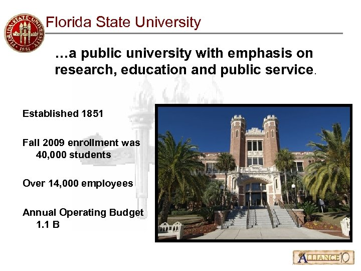 Florida State University …a public university with emphasis on research, education and public service.