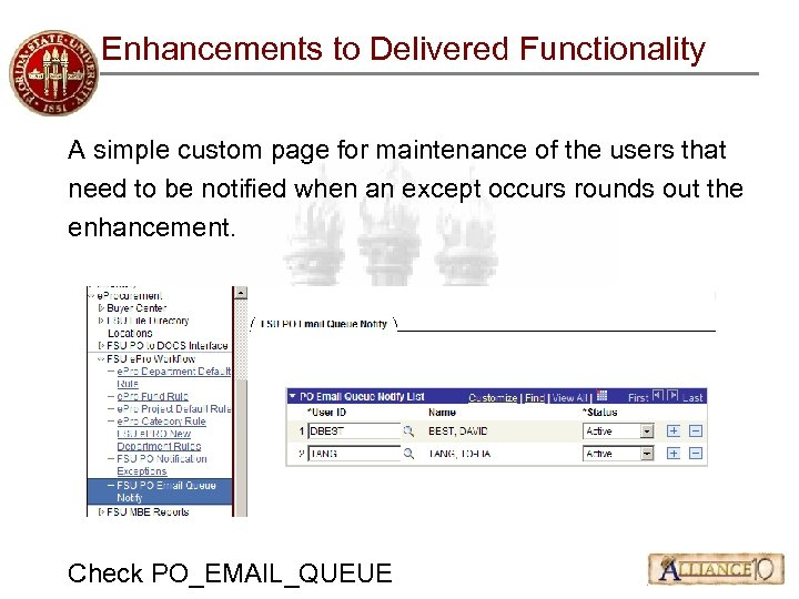 Enhancements to Delivered Functionality A simple custom page for maintenance of the users that