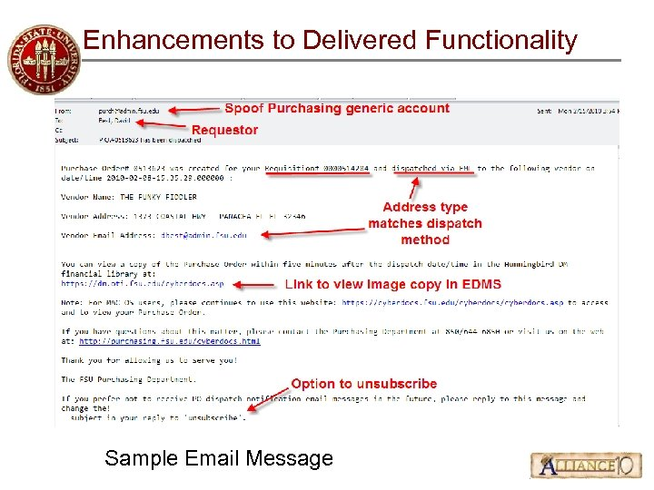 Enhancements to Delivered Functionality Sample Email Message
